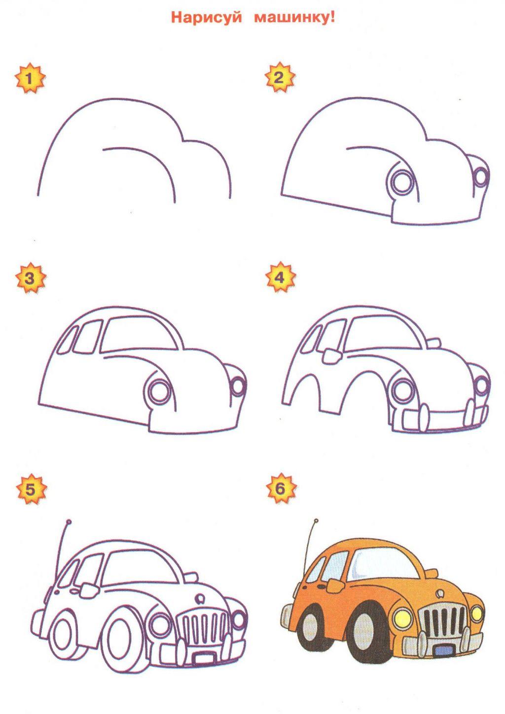 Учиться рисовать машинки детям